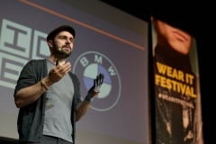 Thomas Kirchner (PROGLOVE) speaking about the DATAGLOVE at the Wear It Festival - The Conference on Wearables, fashion tech, smart clothing and consumer innovation on 19-20 June 2018 at the Kulturbrauerei Berlin - (c) Wear It Berlin / Michael Wittig, Berlin