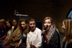 Women in Tech - Ignite Talks with Edwina Huag (Vivify Textiles), Sabine Faller (ZKM Karlsruhe), Rachel Freier (Rachel Freier Studio), Despina Papadopoulos (Principled Design), Muchaneta Kampfunde (Fashnerd), Nicole Cifani (Matrix Industries), Susan Danziger (Ziggeo), Sabine Engelhardt (Daimler)  and Moon Ribas (Cyborg Foundation) at the Wear It Festival - The Conference on Wearables, fashion tech, smart clothing and consumer innovation on 19-20 June 2018 at the Kulturbrauerei Berlin - (c) Wear It Berlin / Michael Wittig, Berlin