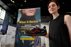 Wear It Berlin Creative Technologist Nathalie Krüger demoing a smart shoe at Exhibition Hall at the Wear It Festival - The Conference on Wearables, fashion tech, smart clothing and consumer innovation on 19-20 June 2018 at the Kulturbrauerei Berlin - (c) Wear It Berlin / Michael Wittig, Berlin